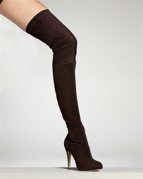 brian atwood david suede overtheknee boot in brown lyst