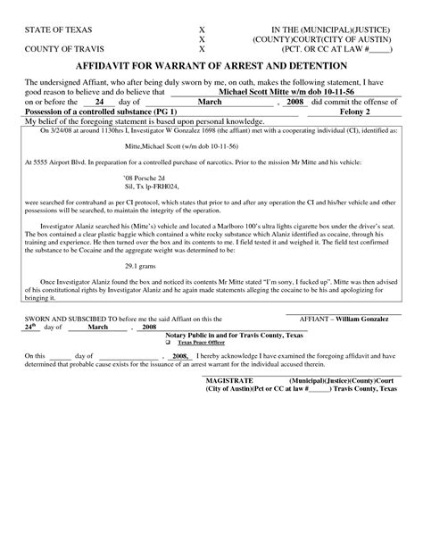16 Images Of Texas Arrest Warrant Template Geldfritz Net Arrest Affidavit Template