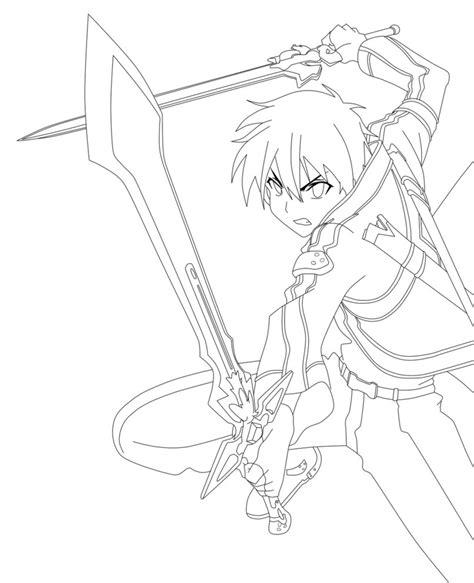 anime coloring pages sword art online sword art online kirito lineart by animemineus on deviantart
