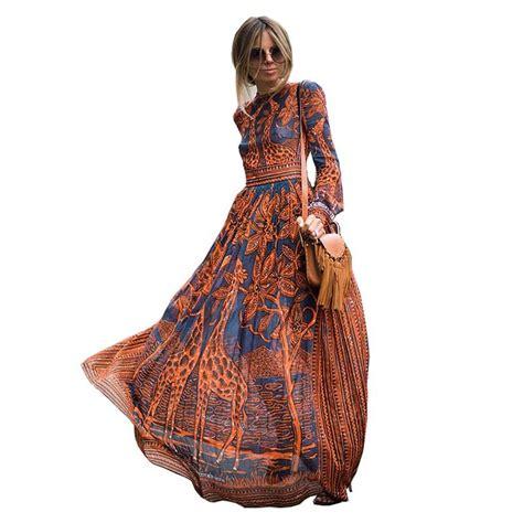 Dress Casual Santalina Fashion Wanita 2017 summer fashion dress chiffon sleeve print maxi dress casual