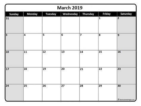 Calendar 2019 March March 2019 Calendar March 2019 Calendar Printable