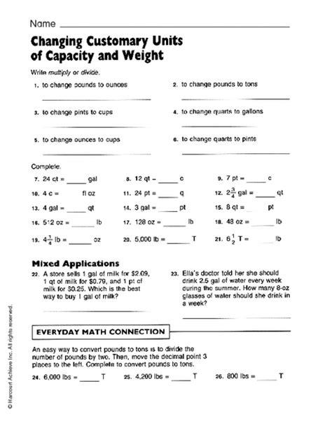 Customary Conversion Worksheets 6th Grade
