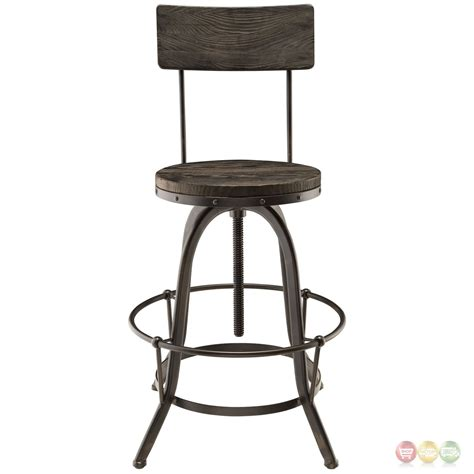 Industrial Bar Stool With Back Set Of 4 Procure Industrial Bar Stool W Wood Seat Backs Cast Iron Frame Black