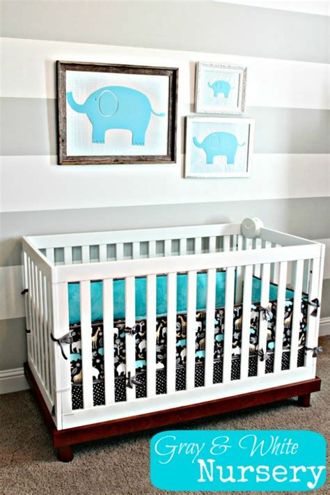 Gray Elephant Nursery Decor Remodelaholic Grey And White Striped Nursery And Ra 127