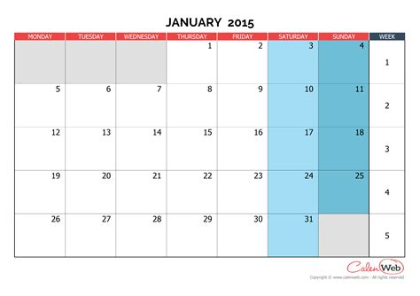 monthly calendar month  january   week starts  monday calenwebcom