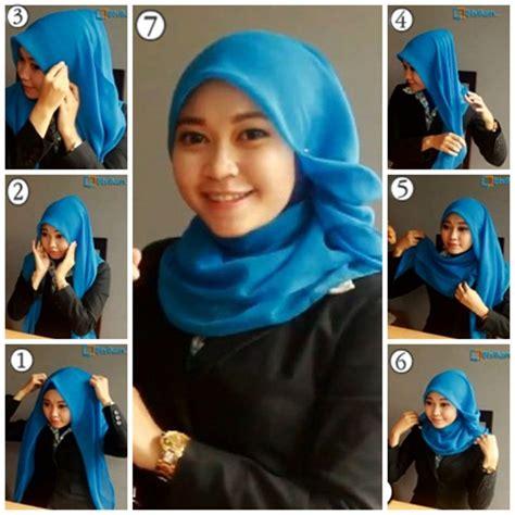 tutorial hijab pashmina simple ke kantor cara memakai jilbab paris simple untuk sehari hari cara