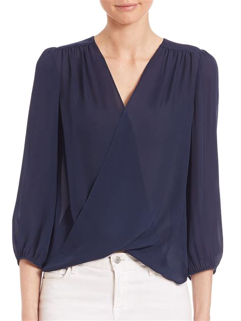 Alice Olivia Annalisa Draped Silk Blouse In Blue Lyst