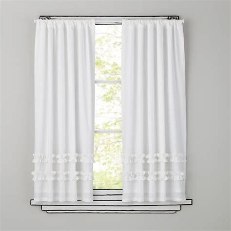white ruffled curtains for nursery ruffle curtain panel white traditional curtains by