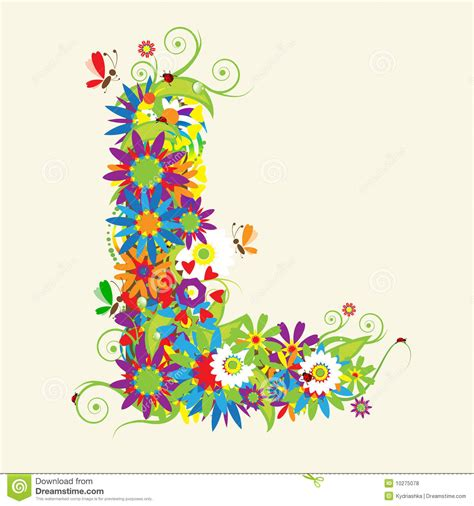 l designer letter l floral design royalty free stock photos image