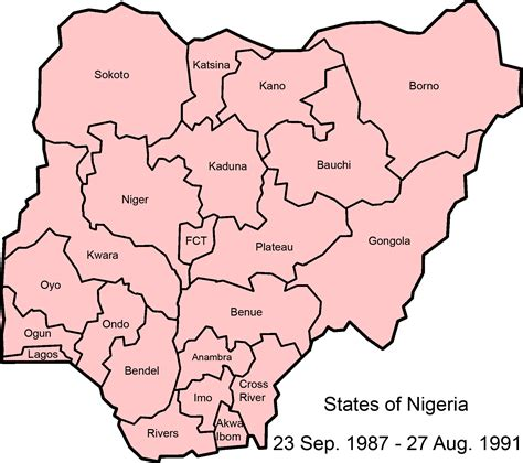 map of nigeria with states file nigeria states 1987 1991 png wikimedia commons