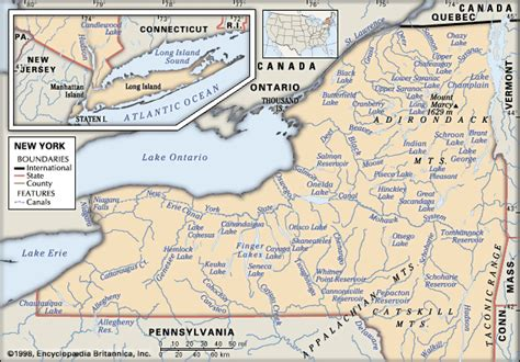 physical map of new york new york physical features britannica