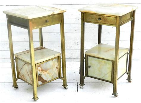 Brass Bedside Table Ls by Pair Of Brass Marble Bedside Tables Cabinets In