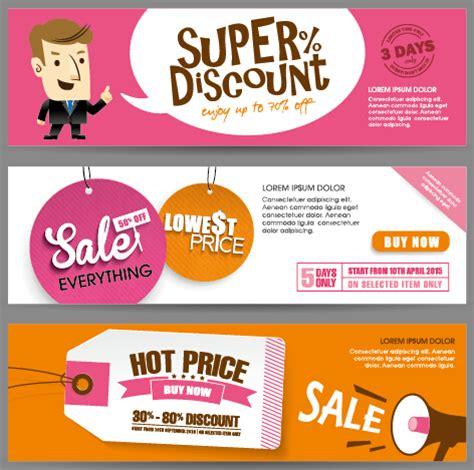 hairstyle banner design flat styles sale banners vector set 07 vector banner