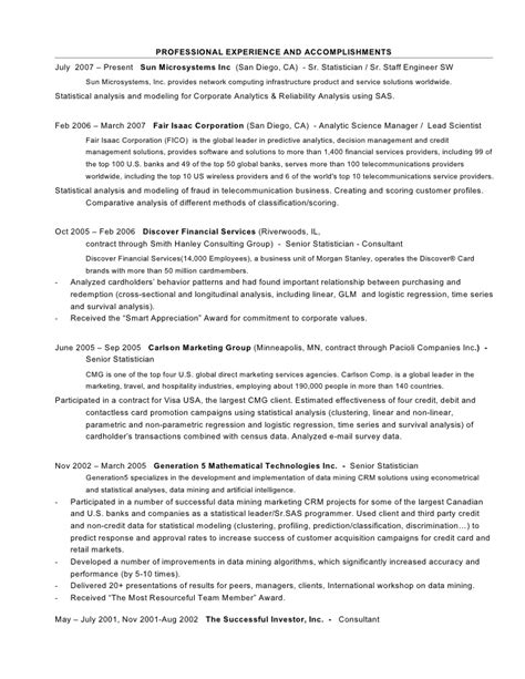 Statistician Resume by Statistician Resume Sle Austsecure