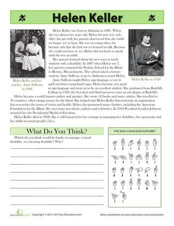 biography of helen keller in short helen keller worksheets and biography on pinterest