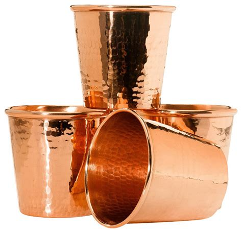 Contemporary Cocktail Glasses Sertodo Apa Cup 12 Oz Hammered Copper Set Of 4