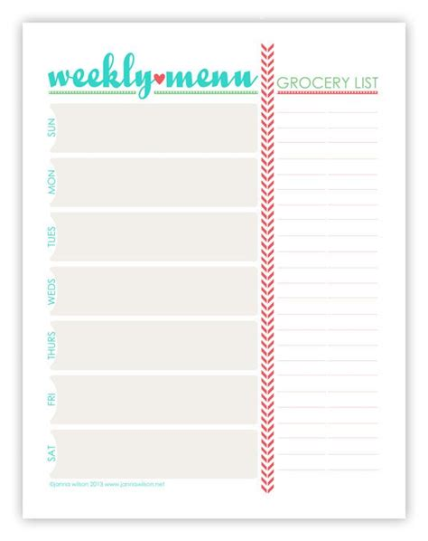 pretty printable meal planner menu plan monday july 15 13 weekly menu planners menu