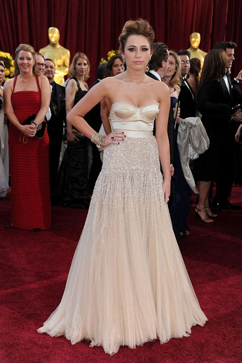 Oscars Carpet Miley Cyrus by Miley Cyrus Beaded Chagne Strapless A Line Oscars