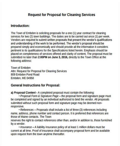 cleaning service proposal template   word