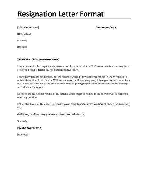 Resignation Letter Format For A Resignation Letter Format For Personal Reason Document Blogs