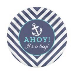 Navy nautical chevron baby shower paper plates 7 inch paper plate