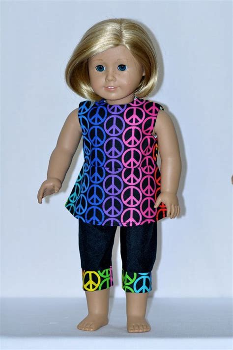 American Handmade Doll Clothes - american doll clothes handmade rainbow peace sign