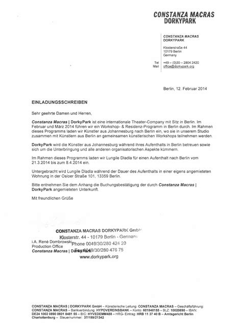 Invitation Letter For Visa Application Turkey sle invitation letter for german tourist visa cover