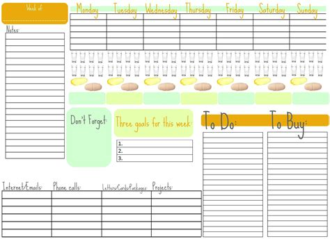 printable weekly organizer day at a glance printable calendar template 2016