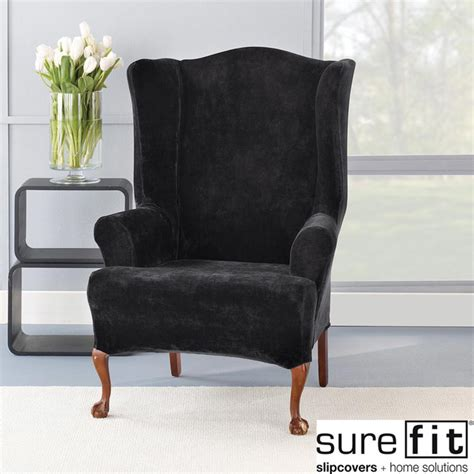black chair slipcover stretch plush black wing chair slipcover contemporary