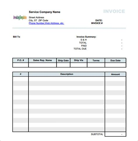 blank service invoice template blank invoice template 52 documents in word excel pdf