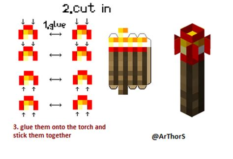 Minecraft Papercraft Torch - accessories minecraft cutouts