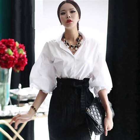 Blouse New Puff aliexpress buy vintage lantern sleeve blouse womens puff ol white cotton tops