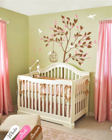 Brown Tree Wall Decal Nursery Brown Nursery Tree Wall Decal Bird Stickers Wall White