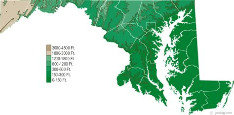 maryland map elevation maryland physical map and maryland topographic map