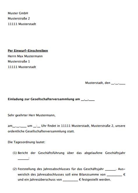 Muster Einladung Probearbeiten Einladung Zur Gesellschafterversammlung Musterschreiben Als
