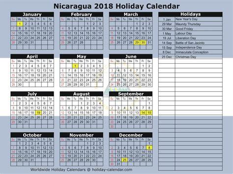nicaragua   holiday calendar