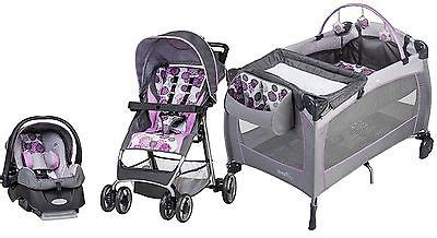 purple and gray stroller and carseat evenflo baby stroller car seat portable nursery travel