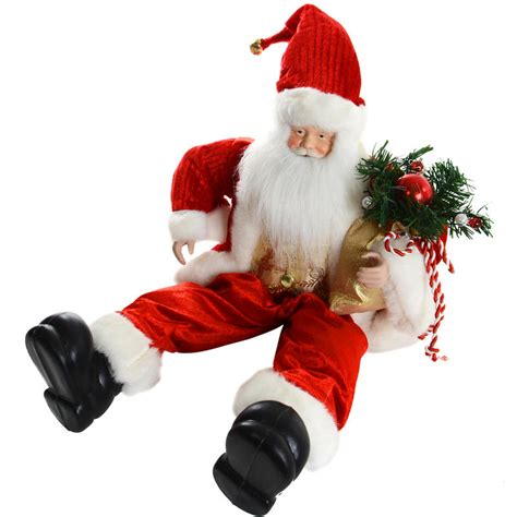 beautiful red detailed sitting santa claus 50cm indoor