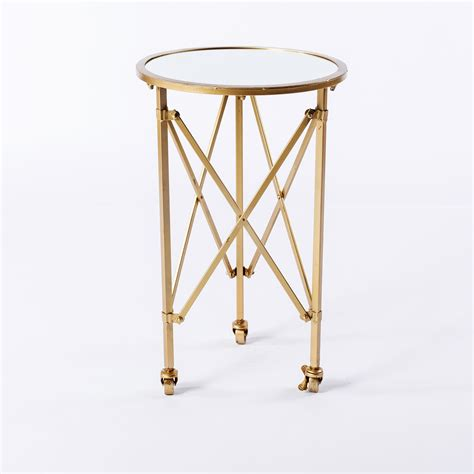 on table gold side table on wheels bella acento