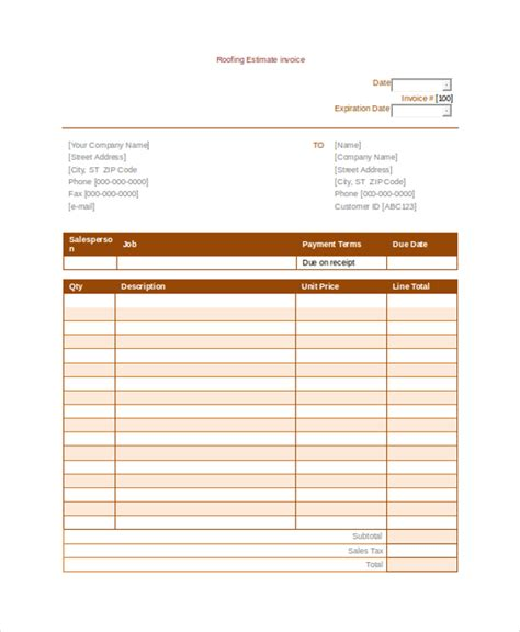 Roofing Invoice Template 9 Free Word Pdf Documents Download Free Premium Templates Roofing Template