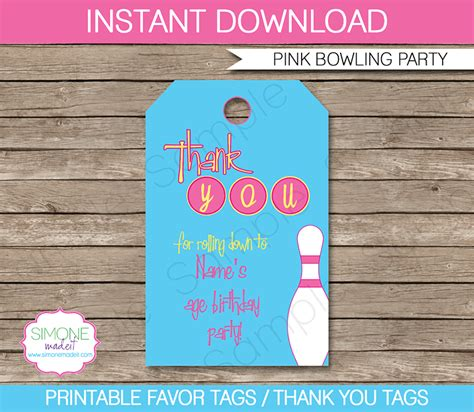 bowling birthday party favor tags thank you tags