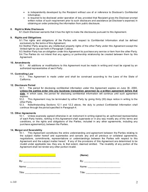 sle mutual non disclosure agreement