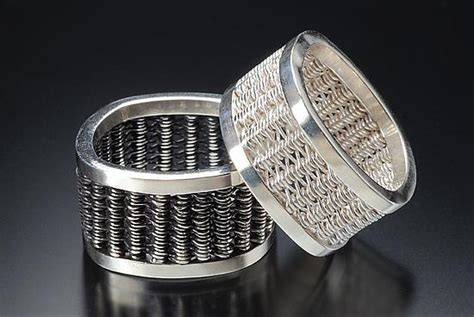 square woven rings by bernasconi silver ring