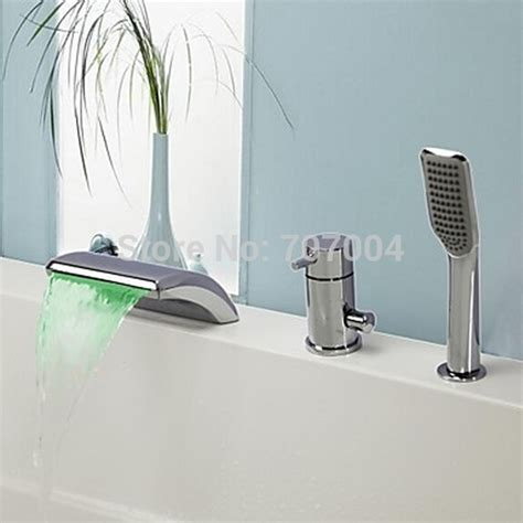 3 Waterfall Faucet by Polished Chrome Deck Mounted Single Handle Bathtub