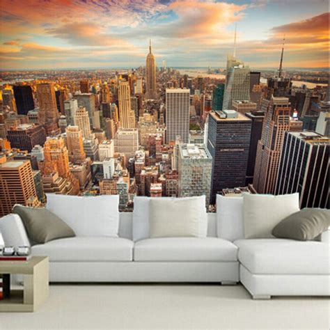 new york wall murals for bedrooms aliexpress buy custom size 3d mural wallpapers backdrop modern city new york landscape