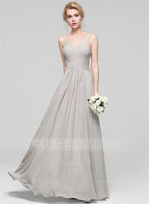 jjs house a line princess v neck floor length chiffon bridesmaid dress with ruffle 007090204