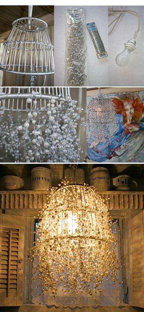 Diy Wire Chandelier Diy Pearl Strands L Wire Basket Wire And Pearl Strands Http Designdazzle