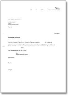 Vollmacht Schreiben Muster Bank Einmalige Bankvollmacht Muster Vorlage Zum