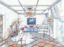 bilder eines wohnzimmers gezeichnete skizze eines waschraumes lizenzfreie