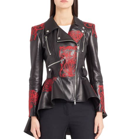 embroidered leather biker jacket  women leatherexotica
